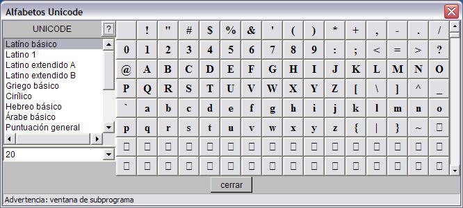 La tabla de símbolos tiene este aspecto: